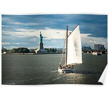 Ship in front of Statue of Liberty, New York Poster