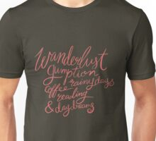 Pink Brush Lettering - Wanderlust Gumption Rainy Days Reading Unisex T-Shirt