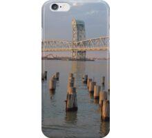 NY Bridge and wood Jetty sunset iPhone Case/Skin