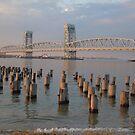 NY Bridge and wood Jetty sunset by Jacker
