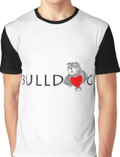 Funny Bulldog Cartoon Love Red Heart  Graphic T-Shirt