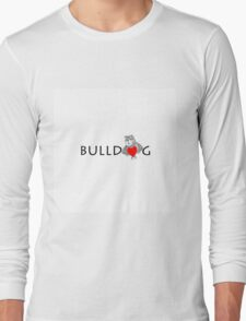 Funny Bulldog Cartoon Love Red Heart  Long Sleeve T-Shirt