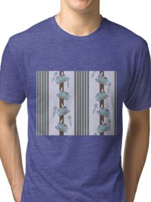 Coffee, Cup, & Spoon Triple Stripe Tri-blend T-Shirt