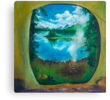 Camping oil painting Canvas Print
