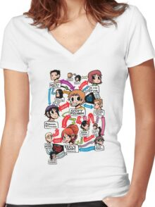 Scott Pilgrim relationship map Women's Fitted V-Neck T-Shirt