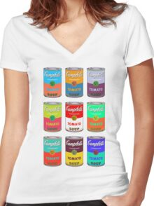 Andy Warhol Campbell's soup cans pop art Women's Fitted V-Neck T-Shirt