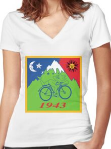 Hofmann's Bike Ride T-shirt Print Women's Fitted V-Neck T-Shirt