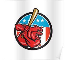 Bulldog Baseball Batting USA Circle Cartoon Poster