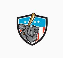 Bulldog Baseball Batting USA Crest Cartoon Unisex T-Shirt