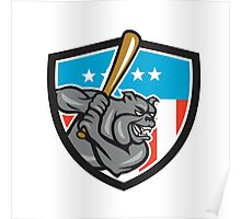 Bulldog Baseball Batting USA Crest Cartoon Poster