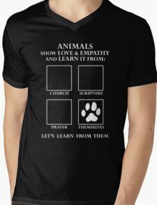 Animals Love Without Religion -- Let's Learn From Them Mens V-Neck T-Shirt