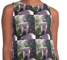 Cute Puppy Contrast Tank