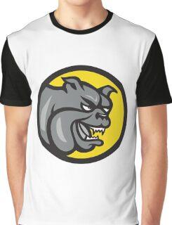 Angry Bulldog Head Circle Cartoon Graphic T-Shirt