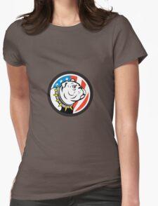 Bulldog Head USA Flag Circle Cartoon Womens Fitted T-Shirt