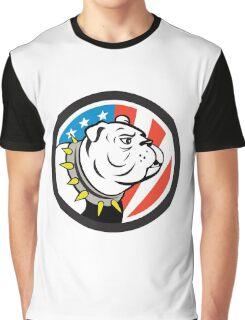 Bulldog Head USA Flag Circle Cartoon Graphic T-Shirt