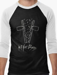 Kill Your Dogmas- White on Black Men's Baseball ¾ T-Shirt