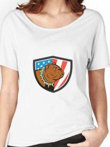 Bulldog Head USA Flag Crest Cartoon Women's Relaxed Fit T-Shirt
