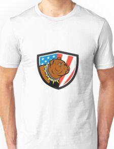 Bulldog Head USA Flag Crest Cartoon Unisex T-Shirt