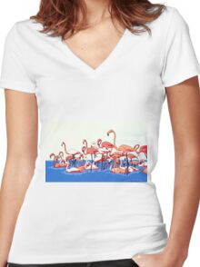 Flamingos Women's Fitted V-Neck T-Shirt