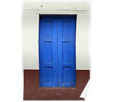 Blue Wooden Door in a Building Poster
