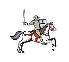 Knight Steed Wielding Sword Cartoon Photographic Print