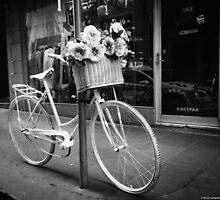 A basket of flowers and a bike by NicoleCampbell