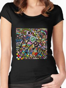 Colorful zentart pattern Women's Fitted Scoop T-Shirt