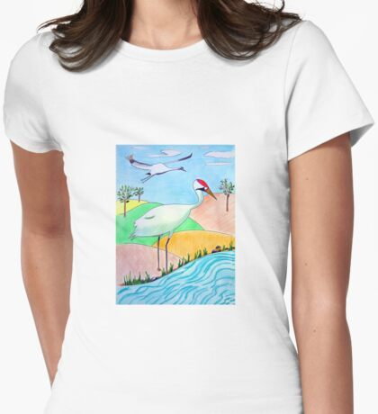 Whooping Crane Womens Fitted T-Shirt