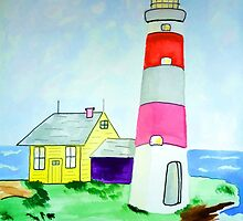 Lighthouse and adjacent house for the keeper's family by JoAnnFineArt
