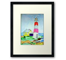 Lighthouse and adjacent house for the keeper's family Framed Print