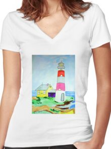Lighthouse and adjacent house for the keeper's family Women's Fitted V-Neck T-Shirt