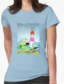 Lighthouse and adjacent house for the keeper's family Womens Fitted T-Shirt