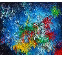 Cool Blue Red Yellow Green Abstract Dream Painting Photographic Print