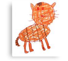 Funny orange cat, childish style Canvas Print