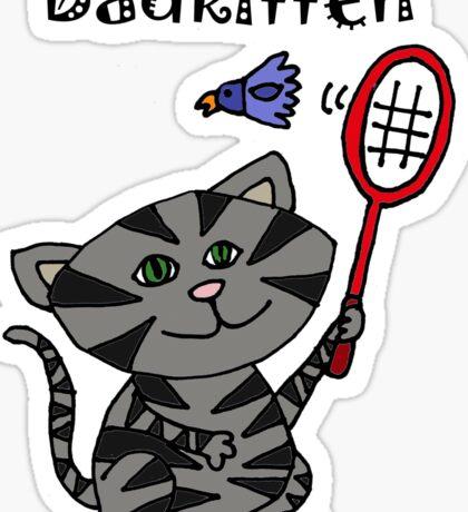 Cool Fun Grey Kitten Playing Badminton Sticker