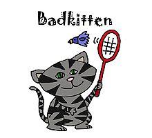 Cool Fun Grey Kitten Playing Badminton Photographic Print