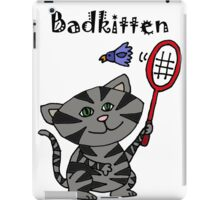 Cool Fun Grey Kitten Playing Badminton iPad Case/Skin