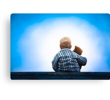 Child and Teddy at the Roof - Childhood Friendship Canvas Print
