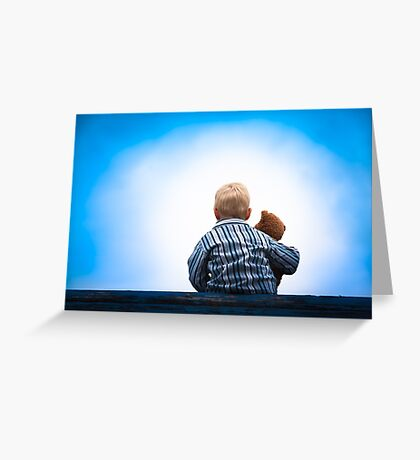 Child and Teddy at the Roof - Childhood Friendship Greeting Card