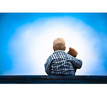 Child and Teddy at the Roof - Childhood Friendship Photographic Print