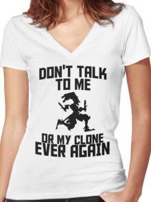Shaco meme Women's Fitted V-Neck T-Shirt