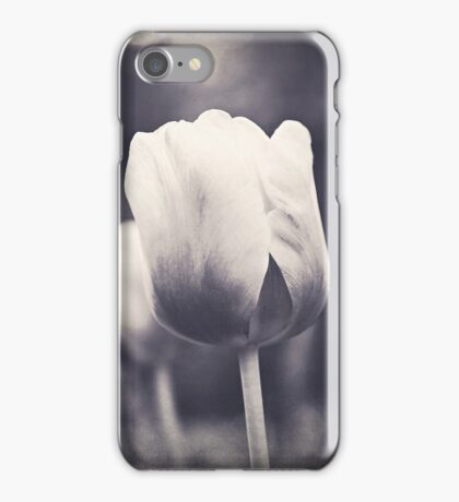 Springtime Tulips in Black and White iPhone Case/Skin