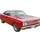 Red 1968 Plymouth Roadrunner Muscle Car by KWJphotoart