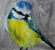 Wild English Garden Bird Blue Tit Contemporary Acrylic Painting by JamesPeart
