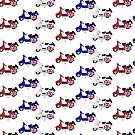 Retro red white and blue scooters by Auslandesign