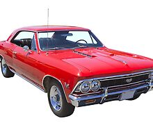 Red 1966 Chevy Chevelle SS 396 by KWJphotoart