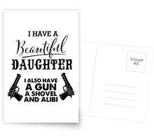 I Have A Beautiful Daughter Gun Alibi Funny Dad Postcards