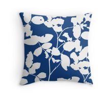 Monoprint blue Throw Pillow