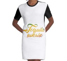 Tequila Sunrise Graphic T-Shirt Dress