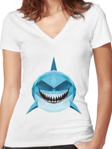 BLUE SHARK FINDING DORY AND NEMO Women's Fitted V-Neck T-Shirt